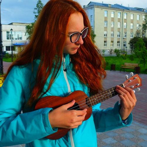 City Glasses Lifestyles Long Hair Person Playing Redhead Russia Trip Tyumen' Ukulele