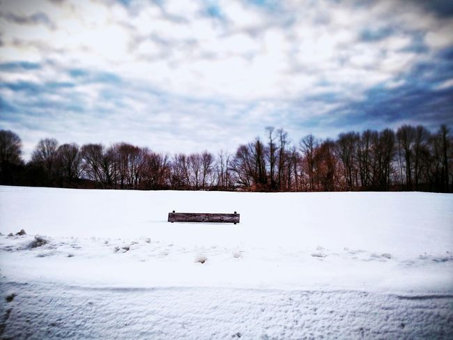 Long Island Bench Snow Buried Clouds Sky Explorer The Human Condition