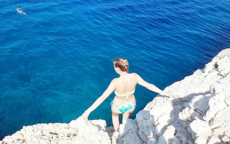 Cyprus Blue Jumping Summer Fun Looking At The Sea Woman In Bikini People Sea Cliff Jumping Island Adventure Cliff Rocks Rocks And Water Cliff Diving Horizon Over Water Sky Adventure Club
