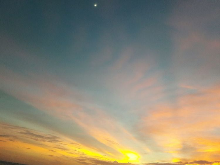 Sunset and the moon. Mobilephotography Sky Nature  Beauty In Nature Scenics No People Tranquility Cloud - Sky Low Angle View Backgrounds Sunset Outdoors Astronomy Star - Space Day