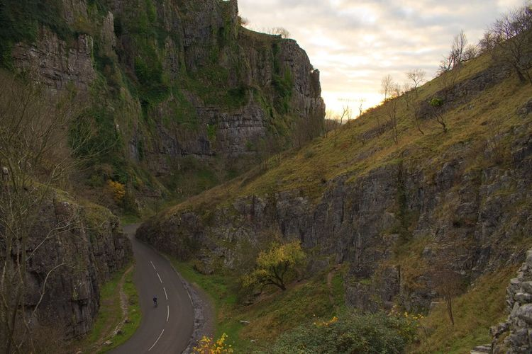 Road Cliff Nature Outdoors Sky Mountain Day Landscape Winding Road Mountain Road No People Cycling Cyclist Cheddar Gorge EyeEm Gallery