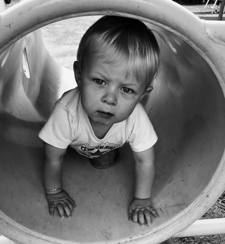 Boy Child Blackandwhite Seriousface Tunnel Playground Park Nephew  Showcase March