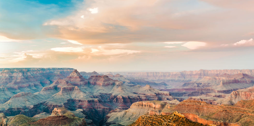Beauty In Nature Canyon Cloud - Sky Day Grand Canyon Landscape Mountain Nature No People Outdoors Rock - Object Scenics Sky Sunset Travel Travel Destinations