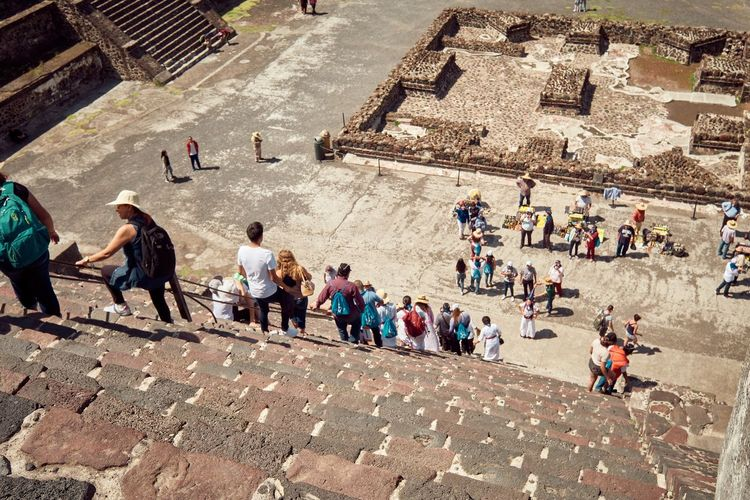 Adult Ancient Ancient Civilization Archaeology Architecture Built Structure Crowd Day Group Of People High Angle View History Large Group Of People Leisure Activity Men Outdoors Real People The Past Tourism Tourist Travel Travel Destinations Visit Women