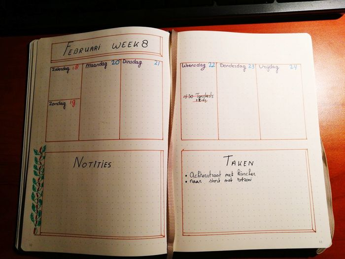 Bullet Journal Weekly Spread Bujo Text No People Close-up Day