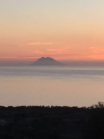 Stromboli at sundown Sunset