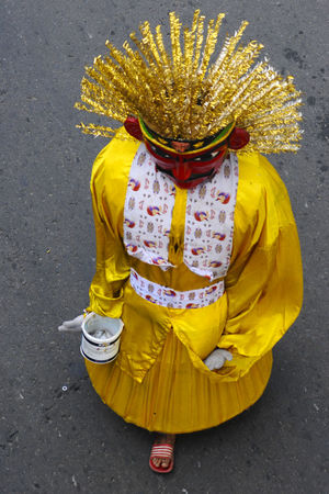 Ondel-ondel is a traditional puppet from Jakarta, Indonesia Arts Culture And Entertainment Cultures Dancer Dancing High Angle View Indoensianmale Jakarta Ondel Ondel Ondel-ondel One Person Outdoors Puppe Road Shadow Stage Costume Standing Street Taking Photos Traditional Traditional Clothing Traditional Clothing Traditional Dancing Traditional Festival Urban Yellow