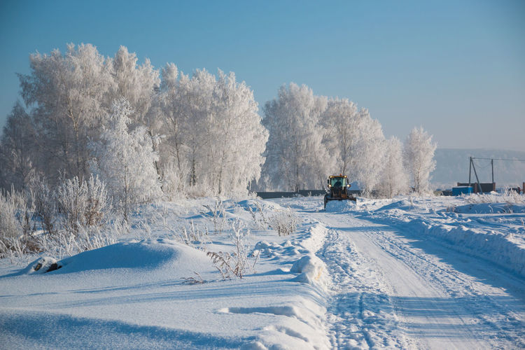 Beauty In Nature Blue Cold Temperature Day Nature No People Outdoors Sky Snow Tractor Tree Winter