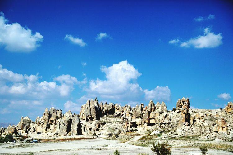 Rocky landscape against blue sky