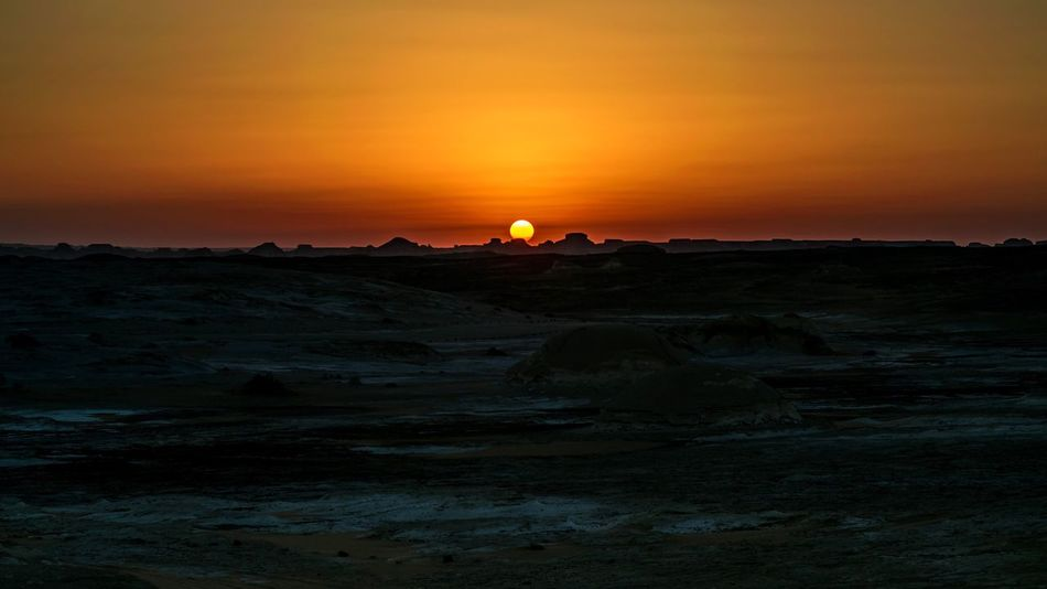Sunset Beauty In Nature Scenics Nature Landscape Sky Outdoors Sun Day Egypt Oasis Bahary Desert