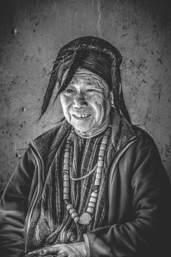 Real People Smiling One Person Happiness Mature Men Portrait Lifestyles Day Outdoors Young Adult People Tawang Arunachal Pradesh India MOPA Tibet Tibetan  Portrait Of A Woman Portraits Portrait Photography PortraitPhotography One Woman Only One Senior Woman Only Looking At Camera Mature Adult EyeEmNewHere Second Acts Black And White Friday