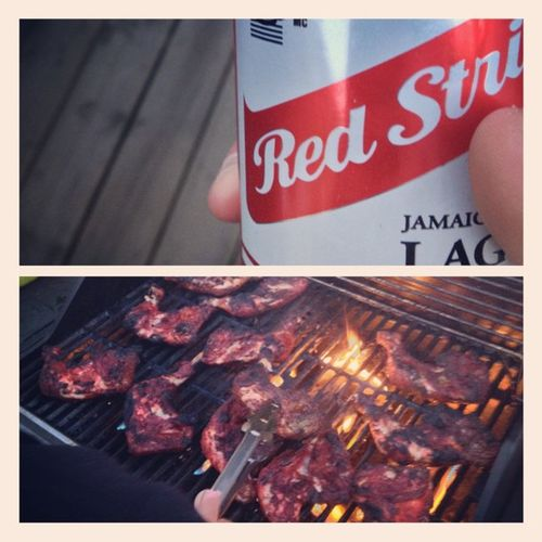 Perfect Summercombo Resstripebeer + fresh Jerkchicken with the 2ndFamily
