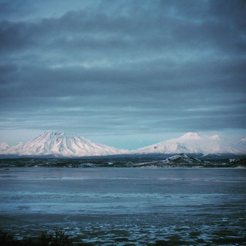 Kamchatka Russia Scenics Beauty In Nature Nature Tranquility Snow Sky Far North Winter Cold Temperature Weather Mountain No People Sea Idyllic Water Outdoors Day Cloud - Sky Landscape Glacier Avacha Volcano Volcanic Landscape