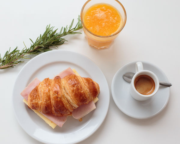 breakfast Breakfast Close-up Croissant Day Drink Food Food And Drink Freshness Healthy Eating High Angle View Indoors  No People Orange Color Orange Juice  Plate Ready-to-eat Refreshment White Background