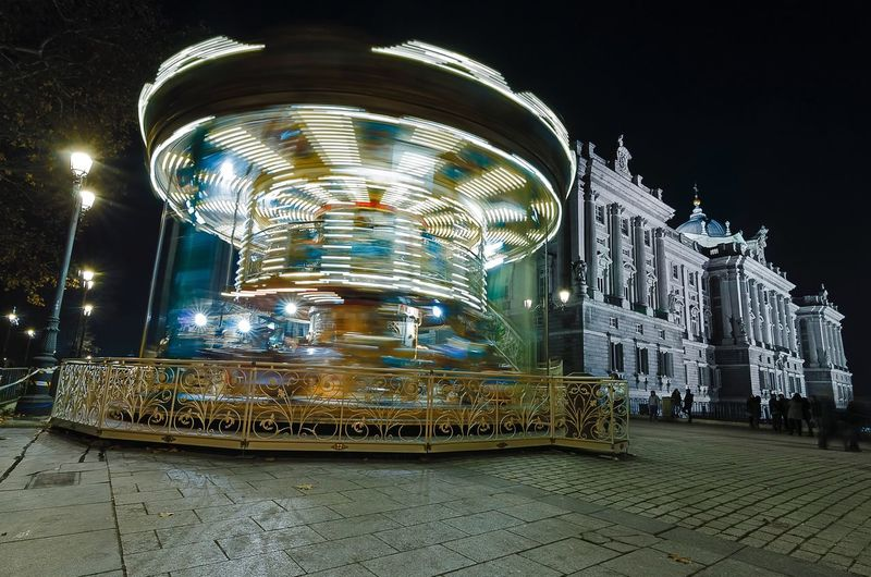 The City Light Illuminated Night Architecture Outdoors Nightphotography Spainish Architecture, Spain Royal Palace Carousel Colour Your Horizn