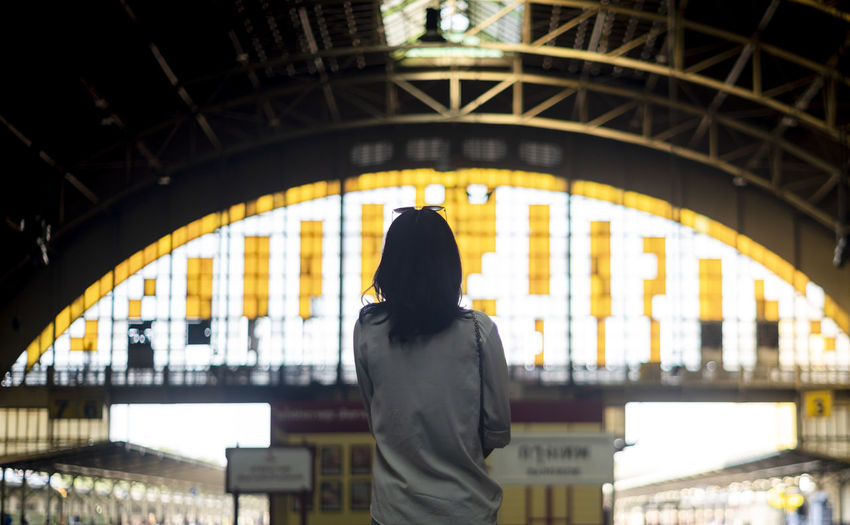 Rear view of woman standing in illuminated city