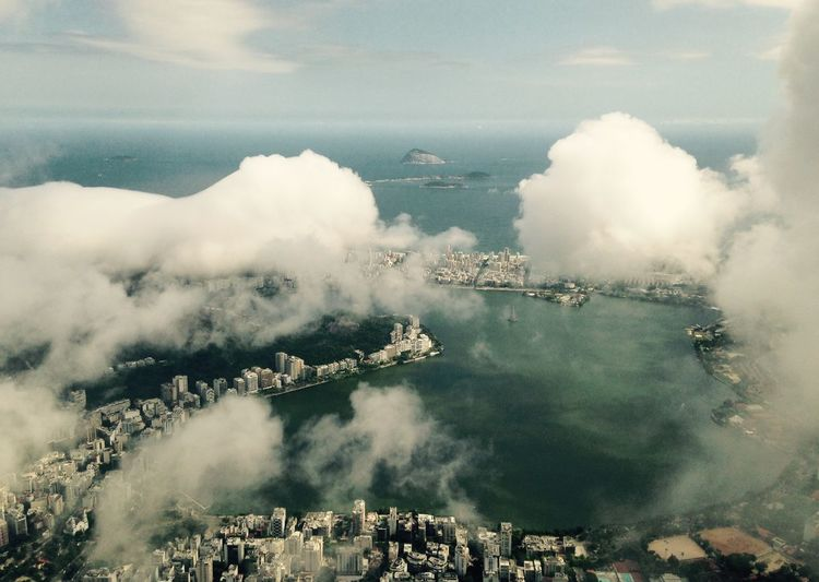 Aerial View Of City And Sea