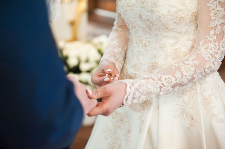 Bridal Bride And Groom Close-up Detail Fingers Hands In Church Love Marriage  Nuptial Rings♥ Strong Feelings Wearing Ring Wedding Day