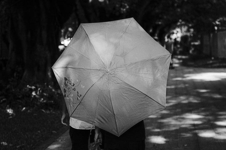 Close-up of person with umbrella