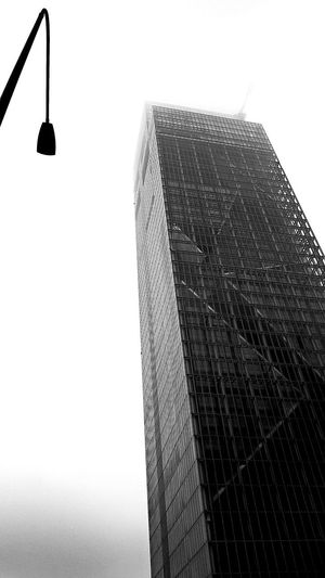 Architecture Foggy Day Skyscraper Black And White Photography Street Light Higher Looking Up City White Sky Perspective Sky Architecture Office Building Skyscraper Downtown Cityscape Building Tall 17.62°