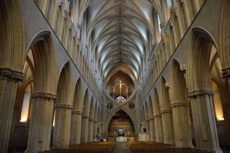 Interior of illuminated church