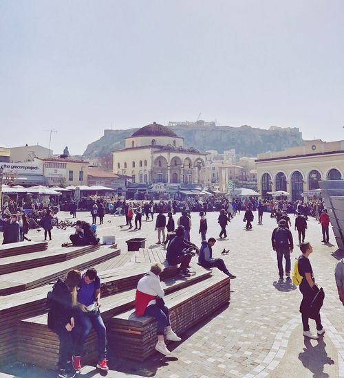 Monastiraki square, Athens (Greece). Parthenon Acropolis Αθηνα Αθηνα Center Of The City μοναστηρακι μοναστηρακι Hellas Center Downtown Attica Greece Church Square Monastiraki Square Monastiraki Greece Athina Athens Large Group Of People Built Structure Architecture Real People Travel Destinations Clear Sky Women City People Sky Vacations