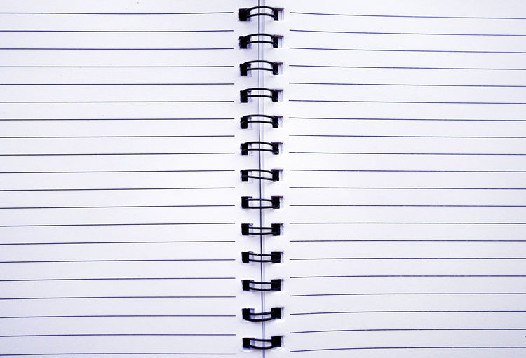 Full frame shot of blank spiral notebook