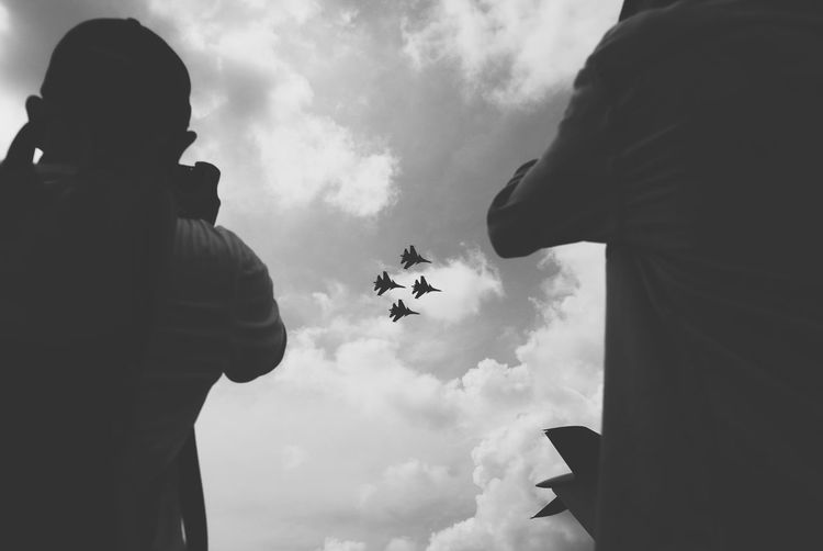 Black And White Friday Cloud - Sky Flying Sky Airplane People Outdoors Two People Black And White Friday