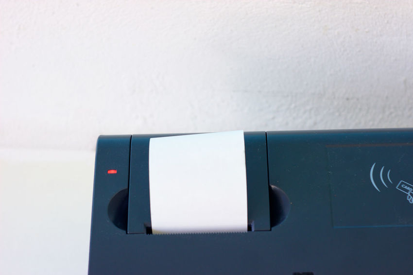 Close-up Communication Dark Blue Indoors  No People Point Of Sale Receipt Red Led Technology Thermal Paper Thermal Printer White Background Close Up Technology