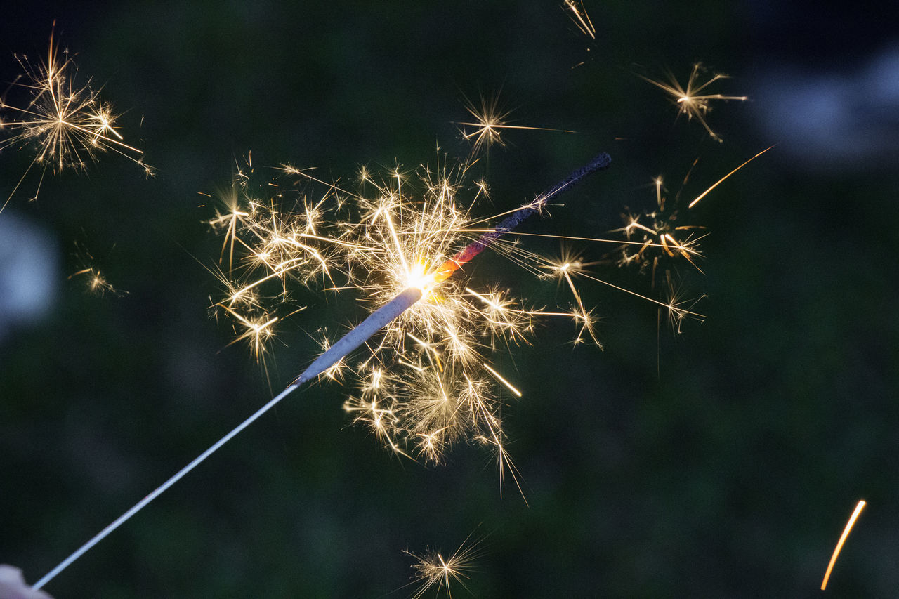 Midsection Of A Sparkler At Night