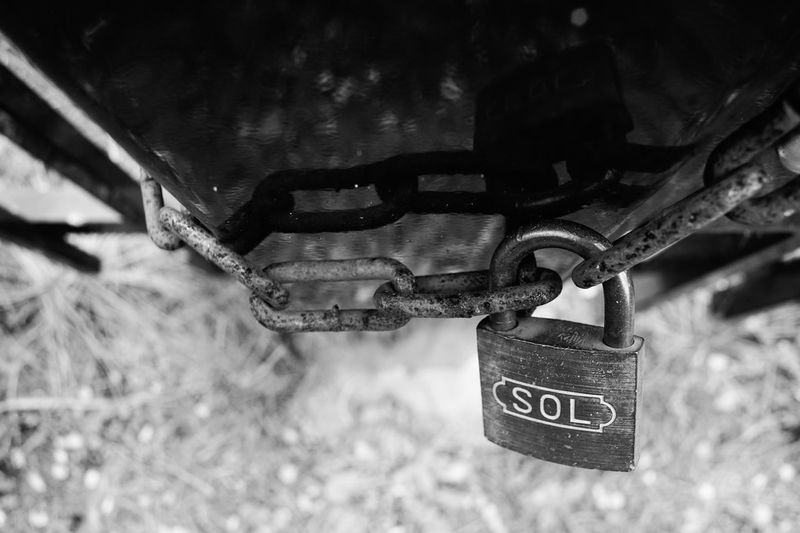 Padlock Lock Protection Security Metal Safety Hanging Text Close-up Outdoors Love Lock Day Focus On Foreground No People Communication Hope モノクロ Monochrome Monochrome Photography Blackandwhite Art Is Everywhere EyeEmNewHere