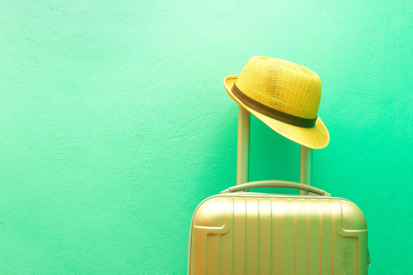 Glasses Travel Travel Arrangements Baggage Green Color Luggage, Travel  Summer Sunglasses Travel Accessories Travel Preparation Turquoise Colored Wall Wall - Building Feature Hat