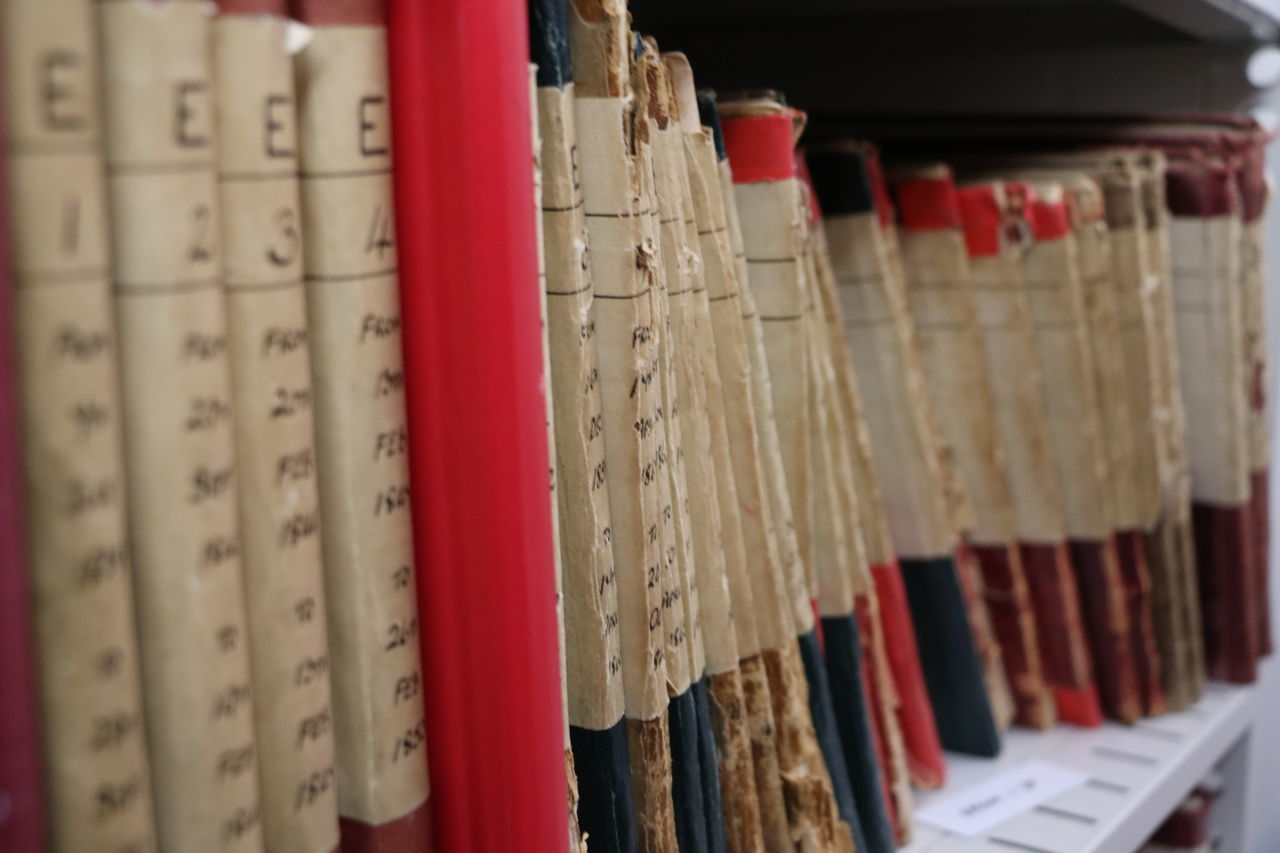 Extreme Close Up Of Books In Rows