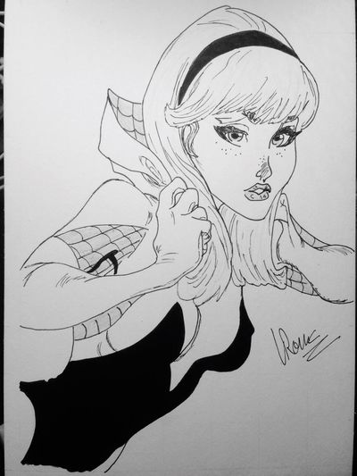 Women Drawing - Art Product Human Body Part Dynamic Human Eye Close-up Human Hand Spider Spider Web Spiderman Spiderwoman Gwenstacy  Woman Girl HERO Marvel