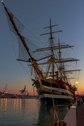 Amerigo Vespucci Ancona, Italy Boat Marina Militare Italiana Nautical Vessel Sailboat Sea Sunset Water First Eyeem Photo