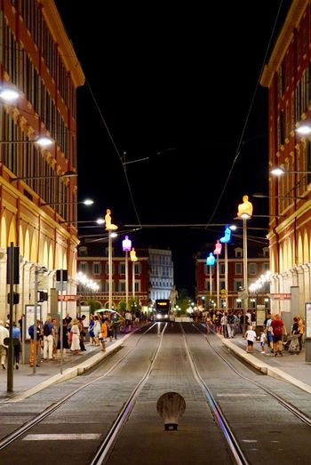 Architecture Night Illuminated Built Structure Building Exterior Large Group Of People City Travel Destinations People Outdoors Adults Only Adult Nice France Nice France Mobility In Mega Cities