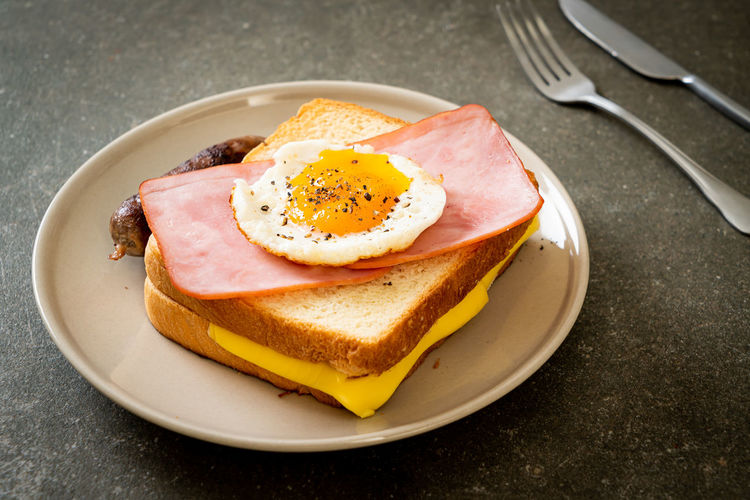 High angle view of breakfast served on table