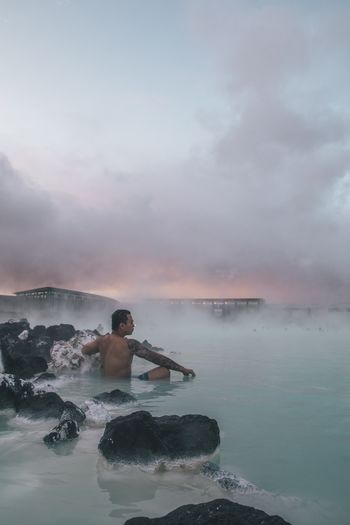 Self Care Iceland Hot Spring Water Sky Cloud - Sky Sea One Person Beauty In Nature Nature Leisure Activity Scenics - Nature Real People Lifestyles Adult Men Tranquility Outdoors Power In Nature