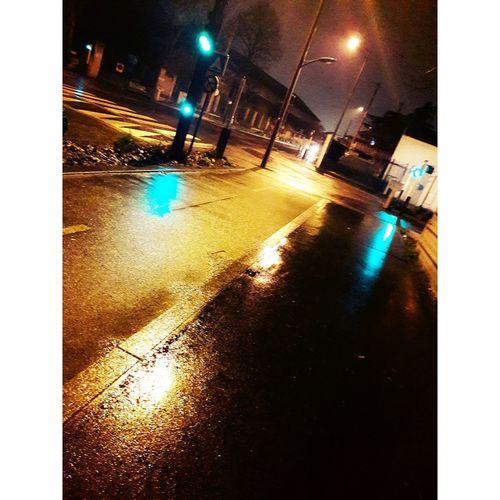 Car Night Illuminated Transportation Street Wet Traffic