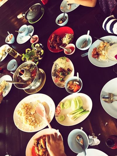 """""""The southern food of Thailand """" Table Plate Human Hand Directly Above Coffee - Drink Indoors  Ready-to-eat Friendship"""