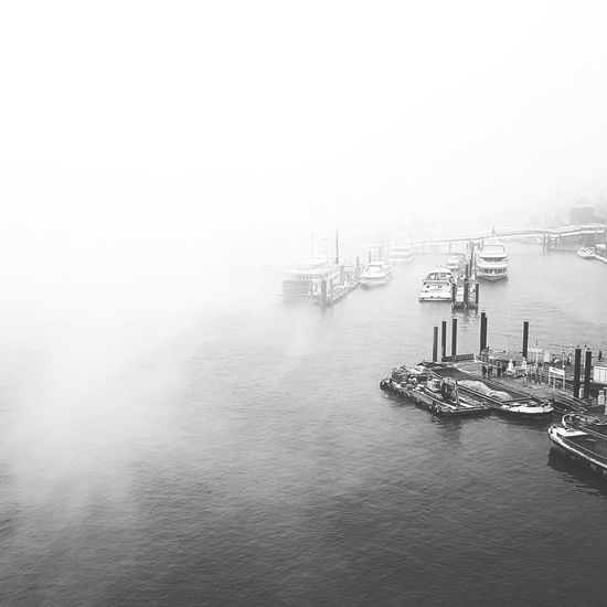 hamburg harbour (Überseebrücke&Kehrwiederspitze) from above Harbor Überseebrücke Water Industry Outdoors Sky Sky And Clouds Atmospheric Mood Urban Landscape Industrial Landscapes EyeEm Best Shots Hamburg Welovehh Urbanphotography Open Edit Nikon Kehrwiederspitze Schwarzweiß Black And White Black And White Photography Fog Nebel Nebelmeer Nebelschwaden Foggy