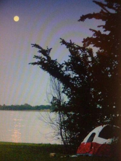 Camping Moon Lake Dallas Tent Dusk Water Reflections