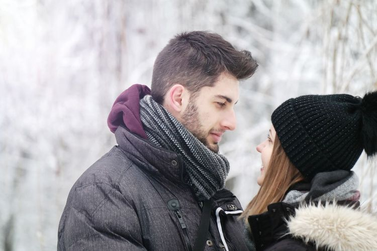 Winter Wife Love Husband NX300 Cold White Happiness Smile Lovely December Photoshoot Couple Goals Couple Smiling Warm Clothing Friendship Snowflake Young Women Snow Men Cold Temperature Togetherness Women Winter Coat Knit Hat