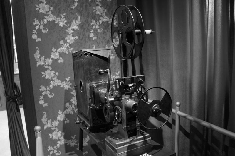 Close-up of old film projector