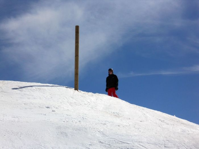 Low Angle View Of Young Man Standing Against Sky