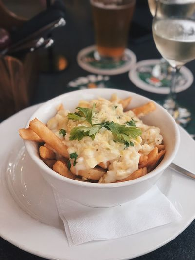 Fries Mac And Cheese Food And Drink Food Serving Size Plate Ready-to-eat Drink Indoors