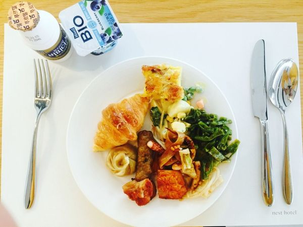 Breakfast Bread Food Food And Drink Fork Healthy Eating High Angle View Indulgence Mi Plate Ready-to-eat Table
