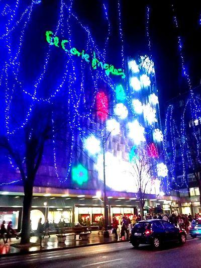 Illuminated City Night Architecture Outdoors Neon Christmas Lights Chrismas Navidad CorteInglés El Corte Inglés Bilbao Building Exterior