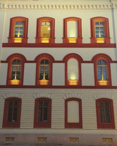 Window Architecture Building Exterior Built Structure Façade Illuminated Low Angle View Syrbija Belgrade Serbia