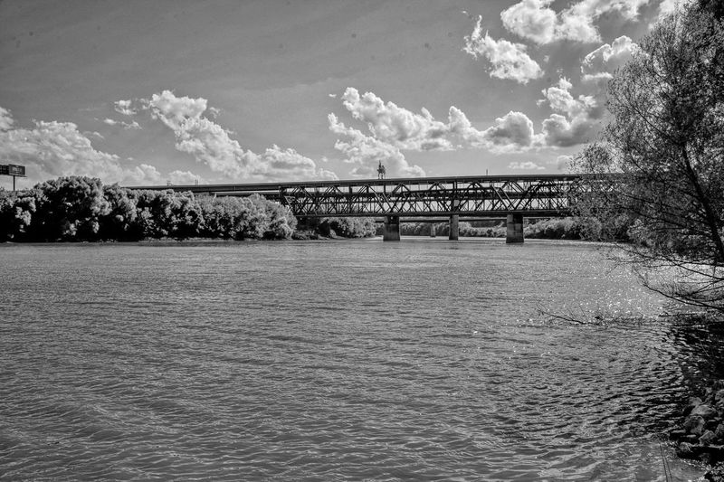 Kansas River Rail Bridge black and white friday Sky Cloud - Sky Nature Water Day Tree No People Architecture Built Structure Outdoors Plant Tranquility Tranquil Scene Bridge Land Connection Beauty In Nature Scenics - Nature Waterfront